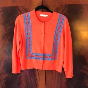 New Tory Burch Poppy Red Scarlet Cardigan Large